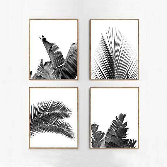 Set van 4 tropische verlaat blad afdrukken instellen Black