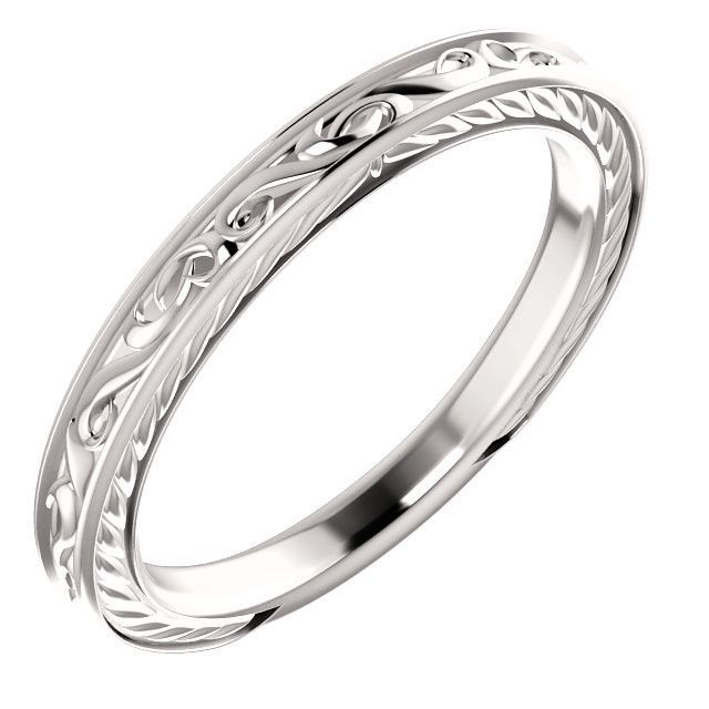 14kt White Gold Vintage-Style Band