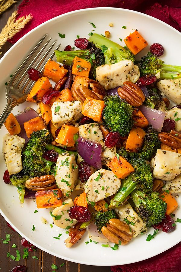 Chicken Broccoli and Sweet Potato Sheet Pan Dinner - Cooking Classy...substitute andouille sausage for chicken and brussle sprouts for broccoli