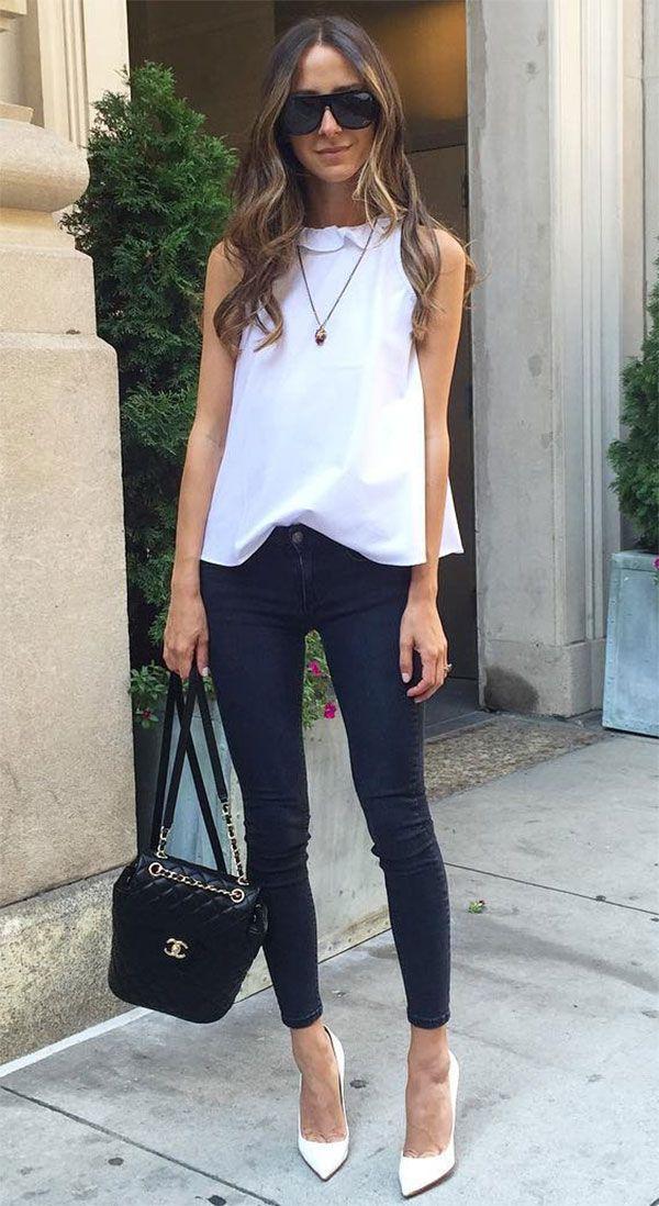 Street style look com regata e calça jeans.