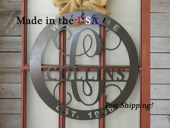 20 Front Door Circle with Monogram Letter, Last Name, Front Door Circle can be hung on a door, wall, or add to a grouping in your home for added décor. This Art Sign can be used indoor or outdoor. This is great to add on your front door adding a special and inviting touch to your home.