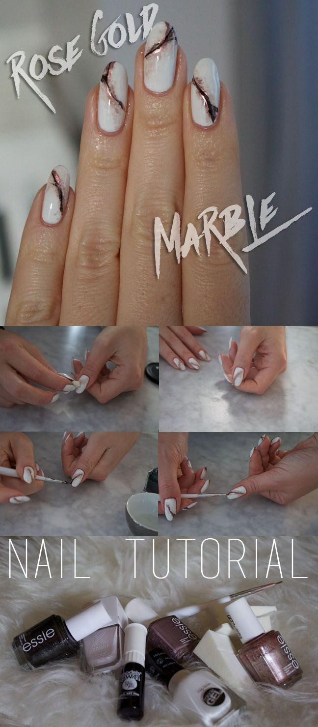 rose gold marble nails tutorial with pictures and products