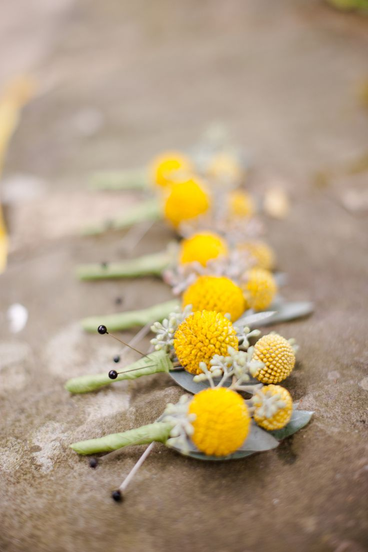 yellow and gray wedding boutonnieres