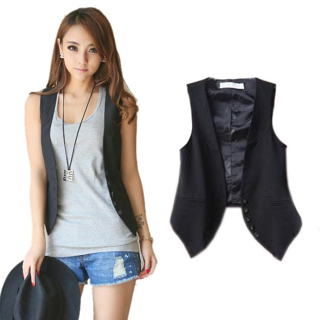 7 euro incl. shipping  contracted waistcoat buckle Women Slim wild cotton vest women's female fashion classic style SAX013-in Basic Jackets from Apparel & Accessor...