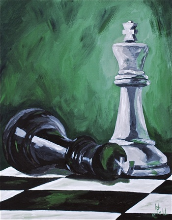 """by tintedcanvas - Acrylic on canvas - 8X10 - """"Checkmate"""
