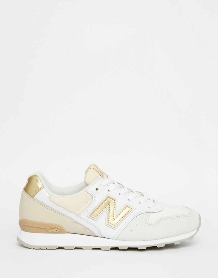 Image 2 of New Balance 996 Cream & Gold Trainers