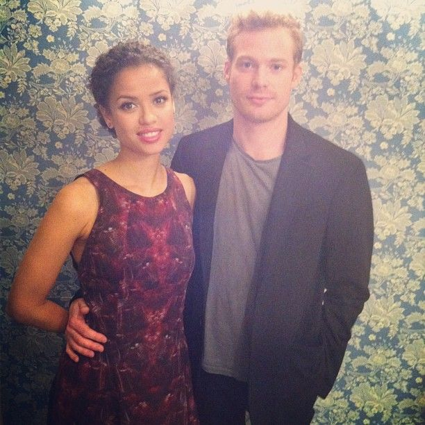 { TORONTO } BELLE's Gugu Mbatha-Raw and Sam Reid hanging out in front of a very on-brand wallpaper pattern #periodpiece #costumedrama #mustsee