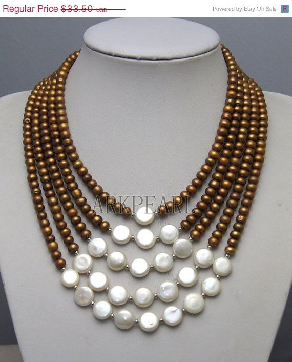 10% OFF Pearl Necklace, beadwork necklace,bib necklace,statement necklace,bridesmaid gifts,Bead Necklace, Stand Necklace With Freshwater Pea on Etsy, $30.15