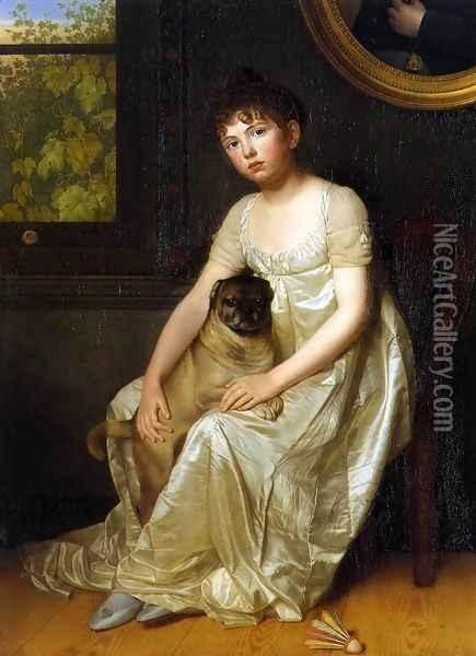 Painting Name: Portrait of Sylvie de la Rue c. 1810 Oil Painting    Painting Info: Oil On Canvas    Artist: Francois van der Donckt Oil Paintings