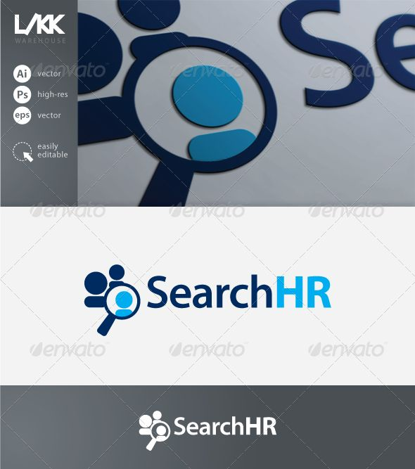 SearchHR logo #GraphicRiver A modern logo template ideal for a human resources company. The set includes: - blue + black & white version of the logo - vector source files (AI – Adobe Illustrator, EPS) - high resolution rasterize d files (PSD – Adobe Photoshop) - PNG image previews Full editability. Well organized layers. CMYK colour mode ready for print. Modern font used – Myriad Pro .myfonts /fonts/adobe/myriad/semibold/ .myfonts /fonts/adobe/myriad/bold/ Created: 17April13…