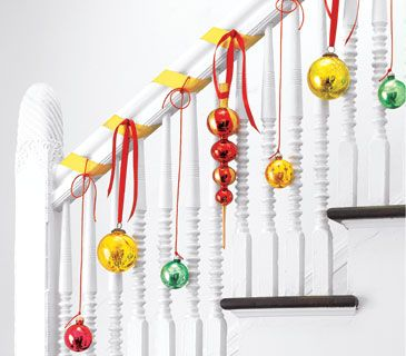 Hanging stair ornaments cute colorful creative christmas ornaments christmas stairs decoration ideas
