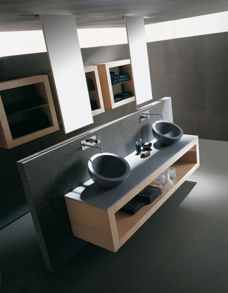 doppelter Waschtisch mit Aufsatzwaschbecken aus grauem Granit