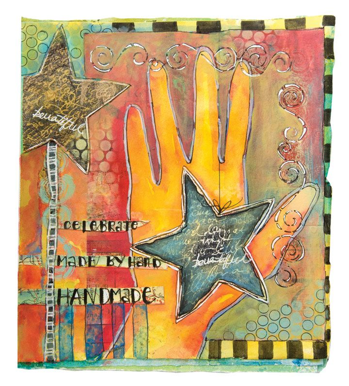Using a tracing of her own hand, Pam Carriker celebrates handmade art with this canvas. | The Artists' Café