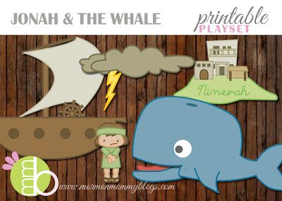 Jonah and the Whale Printable Playset. Link to over 50 fhe lessons