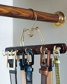 Brilliant Matching Belt Rack - Use one of your extra pant hangers,