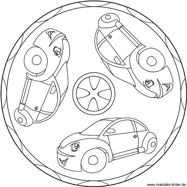 Mandala Ausmalbild Mit Autos Ausmalbilder Ausmalen Ausmalbilder Mandala