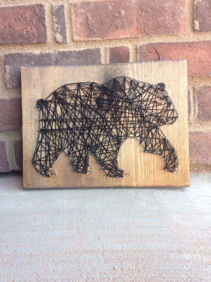 Black Bear String Art Wood Home Decor Sign Woodland Creatures The Jungle  Book Inspired Nursery Decorations Woodland Creatures Papa Bear