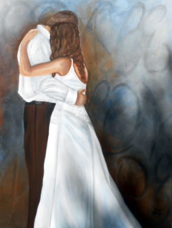 Art,Painting,Acrylic,Figure,text The First Dance