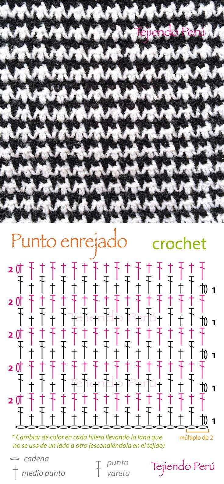 Crochet: punto enrejado (diagrama) ¡Lindo punto que intercala solo medio punto y varetas!༺✿ƬⱤღ  https://www.pinterest.com/teretegui/✿༻