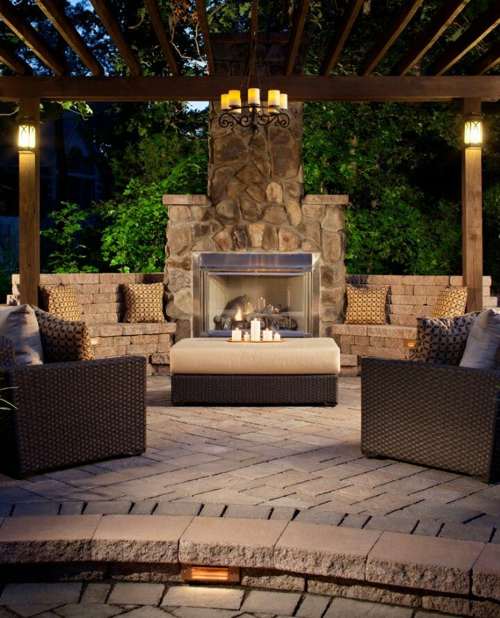 Outdoor Patio With Pergola And Fireplace Design