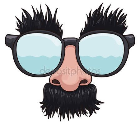 Cartoon groucho glasses for April Fools' Day pranks, ready to be worn!