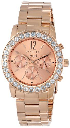 """Invicta Women's 14158 """"Angel"""" 18k Rose Gold Ion-Plated Stainless Steel and Aquamarine Watch. Feminine and luxurious, this timepiece from Invicta's Angel Collection features aquamarine accents and a warm rose gold-plated construction. Swiss Quartz movement with analog display. Protective Flame-Fusion crystal dial window. Features 18k rose gold ion-plated stainless steel, day-date-24 hour subdials, 30 aquamarine stones on bezel. Water resistant to 330 feet (100 M): suitable for snorkeling…"""
