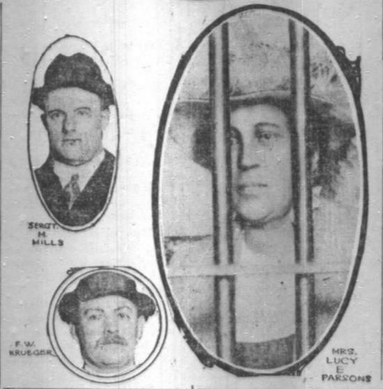 Chicago Hunger Riot, Jan 1915, Lucy Parsons Pisoner