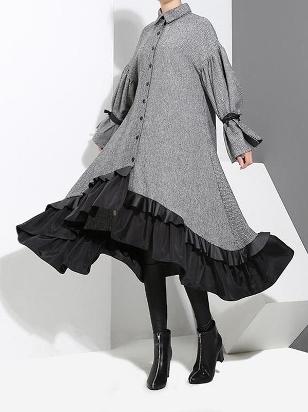 loose split joint falbala lapel blouse dress 大人ワンピース コスチュームデザイン デザイナーファッション