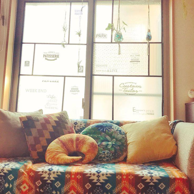 リビング なんちゃってステンドグラス デコ窓 Sakoda ニトリ などのインテリア実例 2017 12 25 07 03 13 Roomclip ルームクリップ ソファーカバー おしゃれ ビーンバッグチェア マルチカバー ソファ