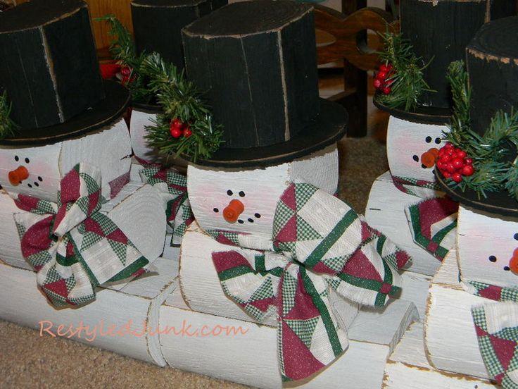 landscape timber crafts | snowmen | Restyled Junk