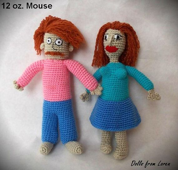 Man-Woman from 12 oz. Mouse Crochet Dolls by LorensDolls on Etsy  #12ozMouse