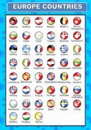 English teaching worksheets: European countries