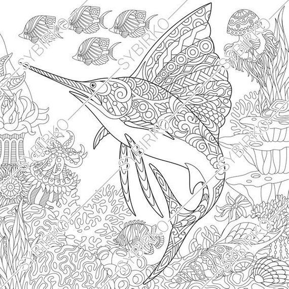 Coloring pages for adults  Ocean world  Sailfish  Fish  Underwater