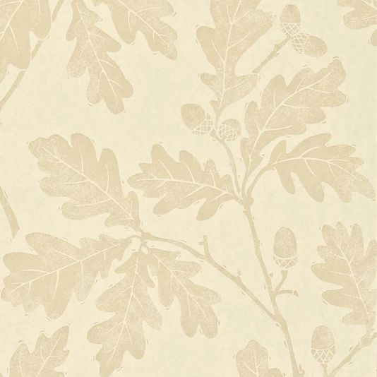 Oakwood Wallpaper A beautiful wallpaper with a design of oak leaves printed in shades of cream. The design originated as a lino print created by carving the pattern onto lino which was then inked with a roller and impressed onto paper.