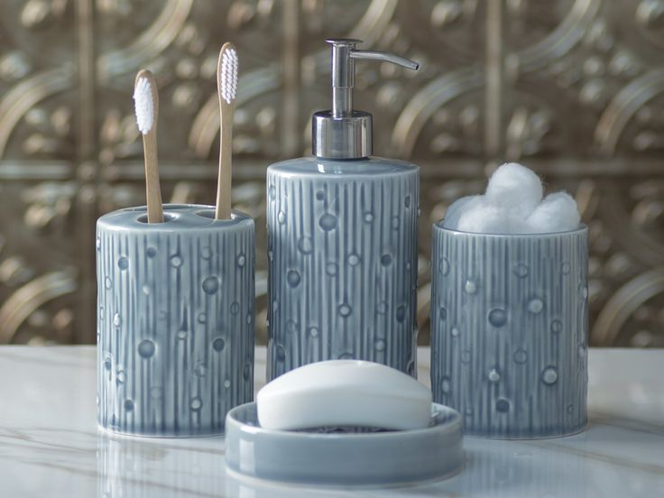 Designer 4-Piece Ceramic Bath Accessory Set by Comfify | Includes Liquid Soap or Lotion Dispenser w/ Premium Metal Pump, Toothbrush Holder, Tumbler, Soap Dish | Modern Concrete | Contour Grey -The perfect blend of elegant luxury design, high-quality materials, and superior functionality