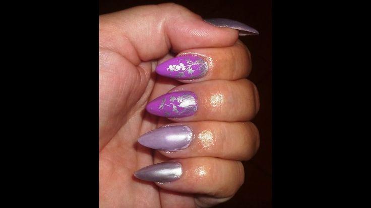 Ασημί σε μωβ νύχια - silver to purple nails