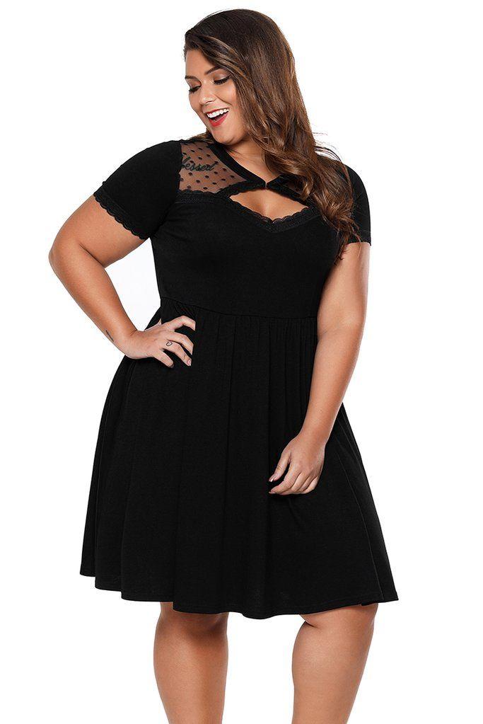 Plus Size Black Dot Mesh Formal Curvy Skater Dress | Plus Size ...