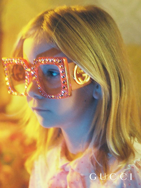 Featuring Hollywood Forever pink oversized squared sunglasses studded with hand-applied crystals, in an image shot by Petra Collins from the new Gucci Spring Summer 2017 eyewear film.