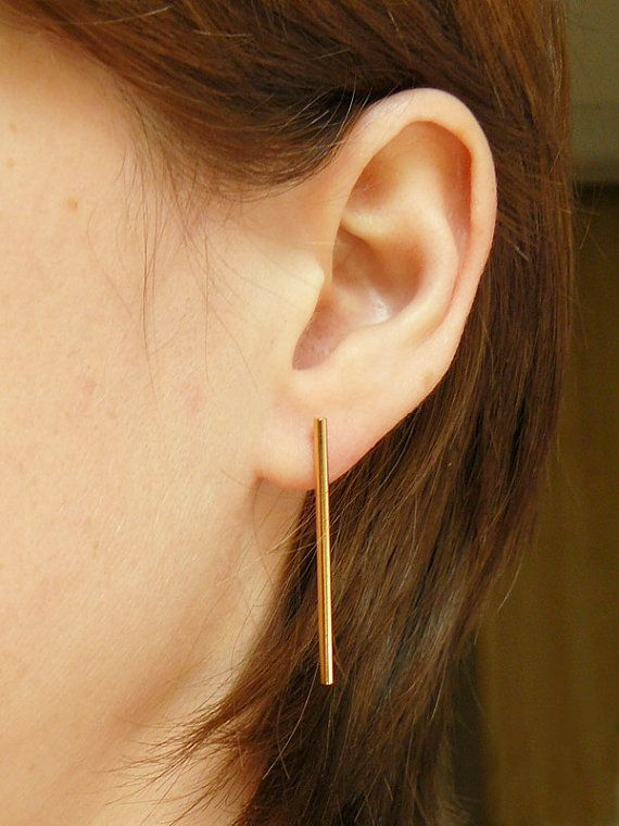 Rose gold bar earrings! A long minimalist pair of pink gold studs - simple yet elegant and perfect for dressing any outfit up! Handmade in