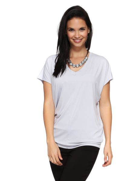 A loose fitting t-shirt with a V-neck and a centre seam. #NewandNow