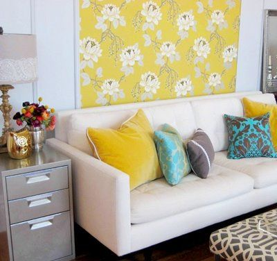 Awesome idea for repurposing an old metal file cabinet...silver spray paint!: Colors Combos, Idea, Side Tables, Living Rooms, Wall Hanging, Frames Fabrics, File Cabinets, Offices Colors, End Tables