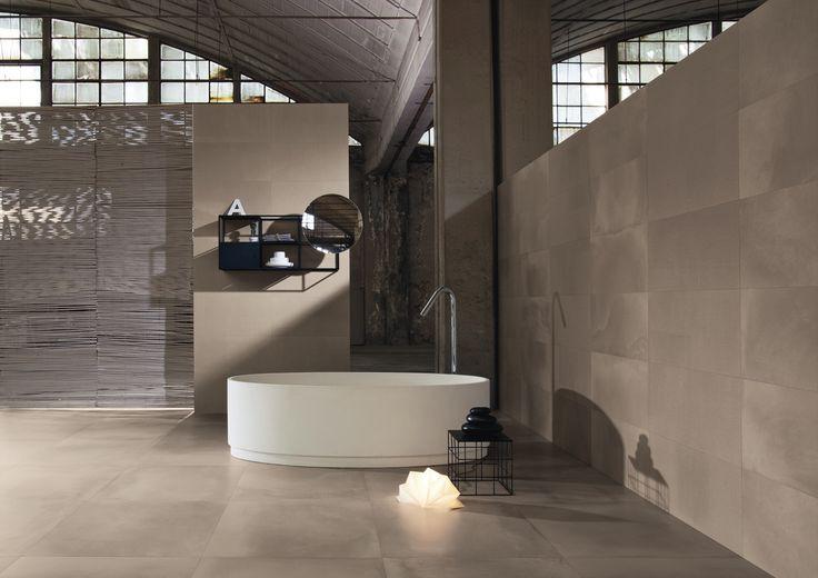 Mooie betonlook tegel met een mooie bekistingslook. Erg modern en in meerdere kleuren verkrijgbaar (51-TO), Tegelhuys.