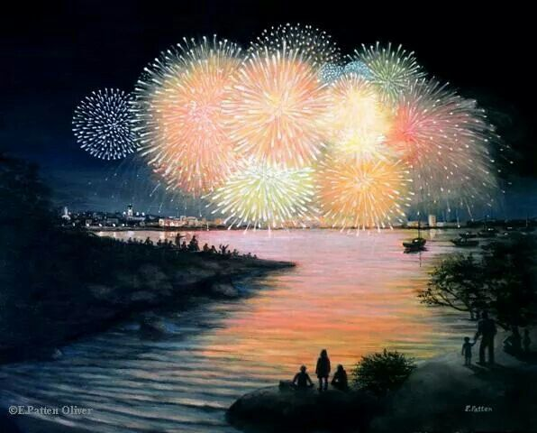 Painting of 4th of July, Gloucester from Stage Fort park. First local fireworks since my fam's in the local plan. :)