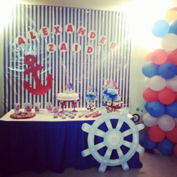 Mesa de dulces Baby Shower #Nautico #Marinero #Nautical | detalles ...