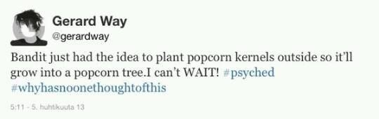 I think he is going to be very disappointed when he doesn't get a popcorn tree....