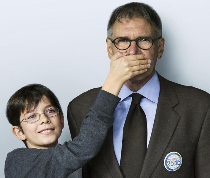 Nine-year-old boy plants seed that yields 3 trillion trees - Plant-for-the-Planet campaign in which the world's children implore adults to stop talking, start planting. Seen here, Felix Finkbeiner with supporter Harrison Ford.
