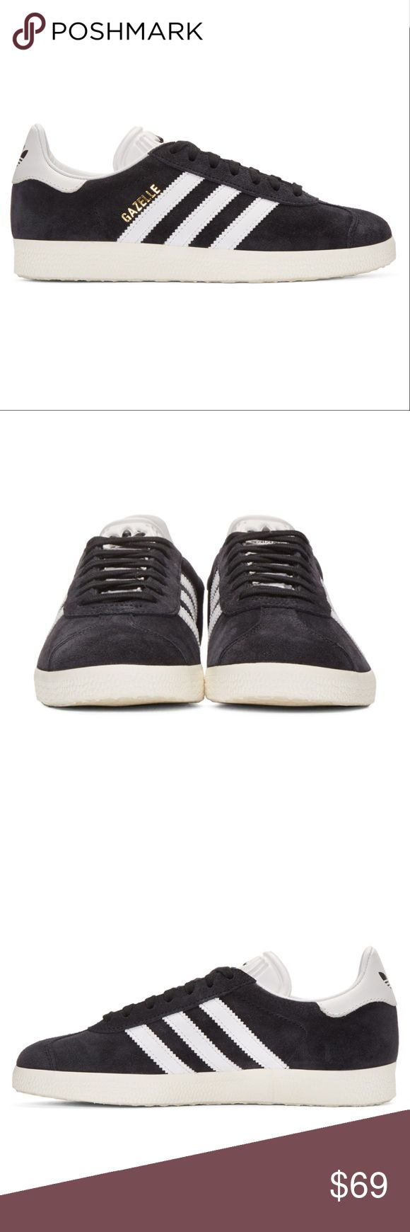 [NWT] adidas OG Black Vintage Gazelle Sneakers Low-top suede sneakers in black. Subtle distressing throughout. Round toe. Tonal lace-up closure. Logo embossed in black at white tongue. Style name stamp in gold-tone at outer side. Signature leather striping in white at sides. Logo printed in black at white leather heel tab. Textured rubber sole in ivory. Alternate lacing in white. Tonal stitching.   Upper: leather. Sole: rubber. adidas Shoes Sneakers