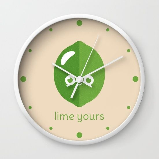 Lime Yours Wall Clock - pun, puns, lime, limes, sour, citrus, fruit, food, funny, cute, love, relationship, tasteful, tasty, relationships, valentine, valentines, vector, art, illustration, drawing, design