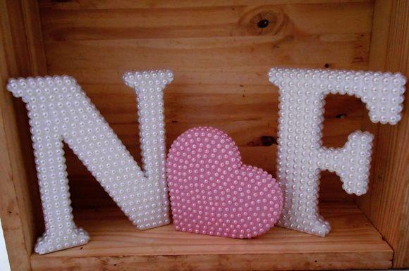 Kit todo em pérola 2 letras + coração