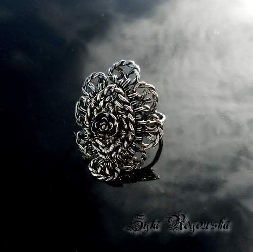 Adjustable ring sterling silver  wire wrapped by BraceletsWorld, $149.00